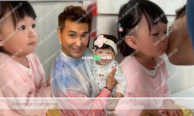 Parental Warmth! Ruco Chan kisses his daughter Quinta Chan
