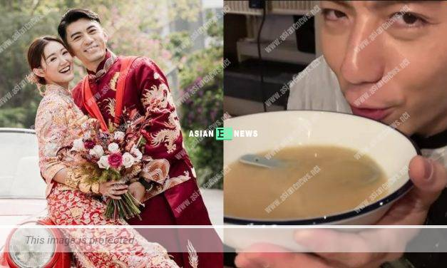 Benjamin Yuen enjoys the soup and shows his happiness