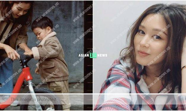 Eliza Sam teaches her son Jacob to cycle