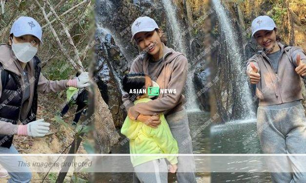 Gigi Lai overcomes her height phobia; She takes her daughters to see waterfall