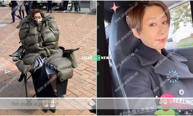 Nancy Wu wears a down jacket at the location shooting