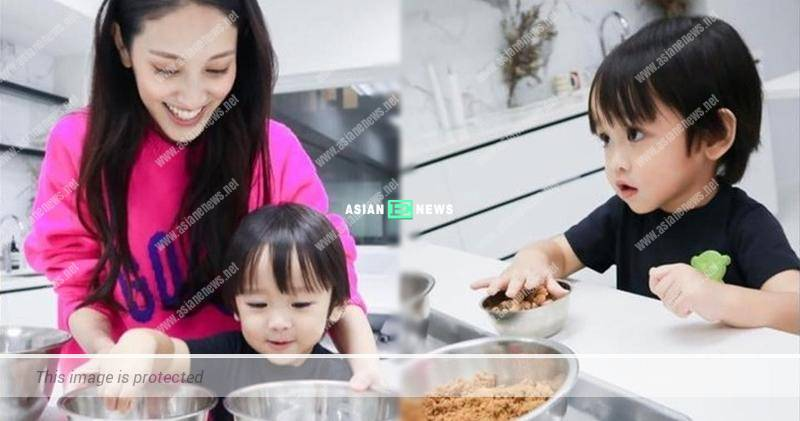 Grace Chan bakes cake together with her son