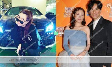 "Roxanne Tong makes ""Chok"" pose in front of Kenneth Ma's vehicle"