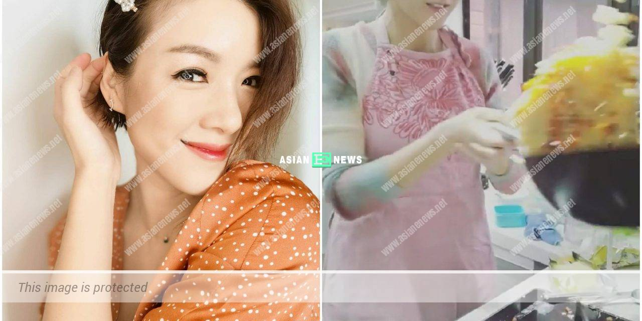 Because of Moses Chan? Aimee Chan tries to flip rice in a pan