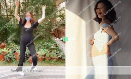 Expecting Eliza Sam dances in a tight-fitting jumpsuit