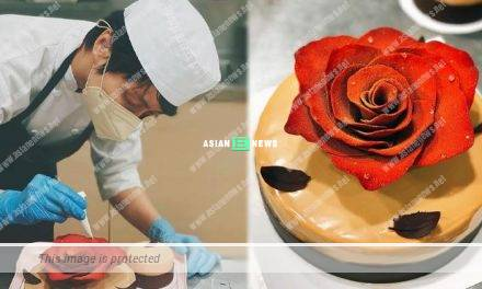 Smart Gigi Leung bakes a cake and decorates with a rose