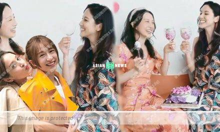 Grace Chan and Katy Kung enjoy the cake during the gathering