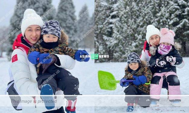 Linda Chung plays snow with her children