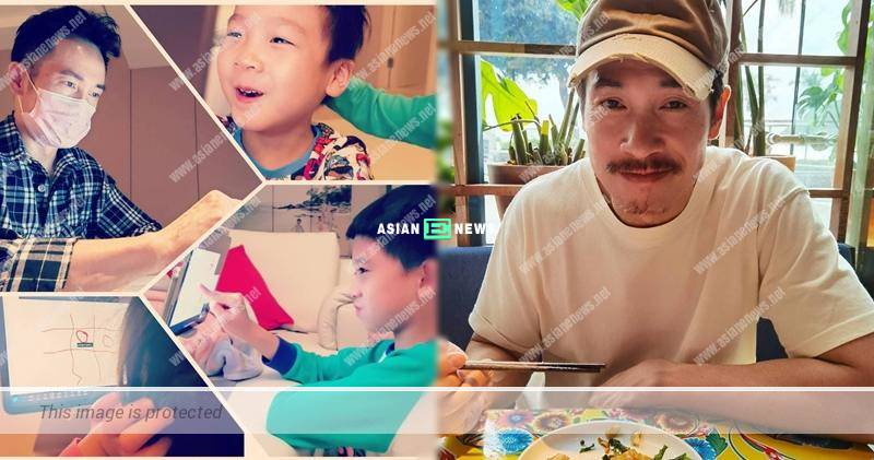 Moses Chan plays online game with his kids during the quarantine period in Shenzhen
