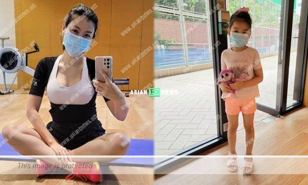 Clingy? Aimee Chan's daughter accompanies her to exercise