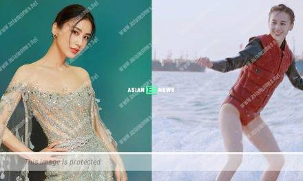 Chinese star Eva Huang goes for water skiing and shows her fit body figure