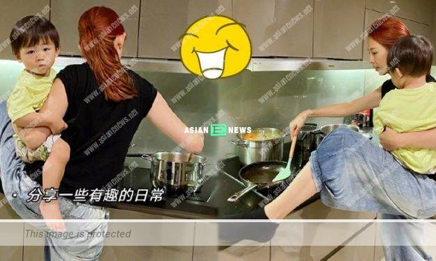 Wonder woman Ada Choi cooks while carrying her son at the same time