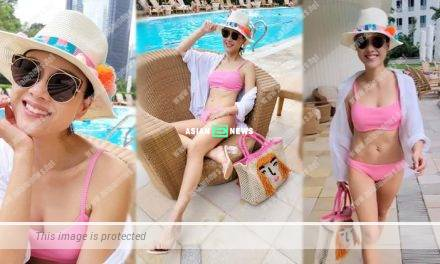 Fit Aimee Chan wears a pink bikini and performs catwalk