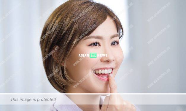Moon Lau shows her sweet smiles when filming braces brand advertisement