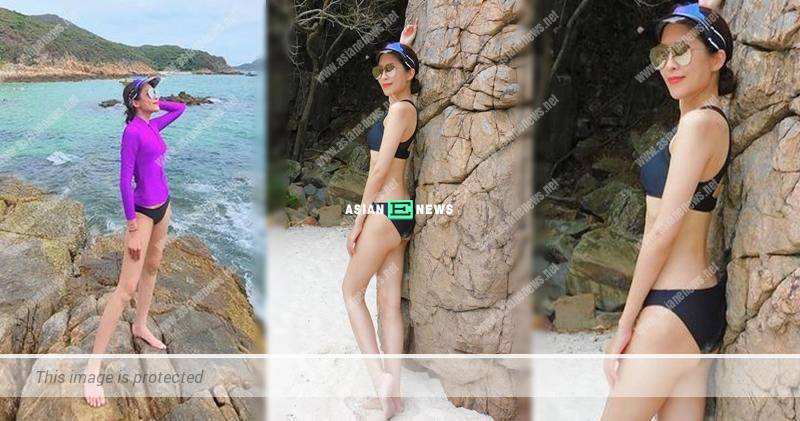 Sharon Chan shows her sexy swimsuit photos and long legs