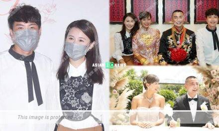 Trying to be pregnant? Priscilla Wong touches the bride, Inez Leong's belly