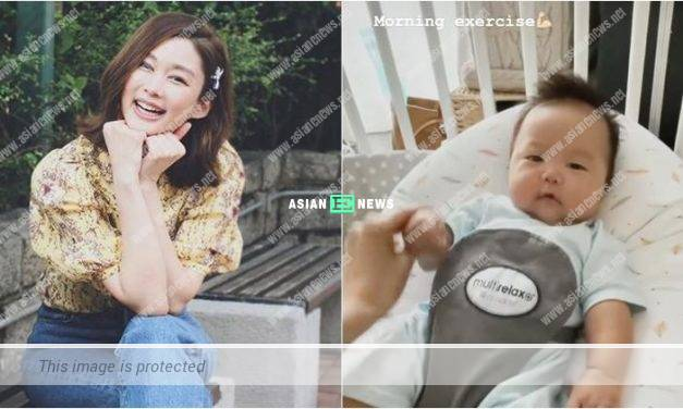 Eliza Sam helps her second son, julius to do morning exercise