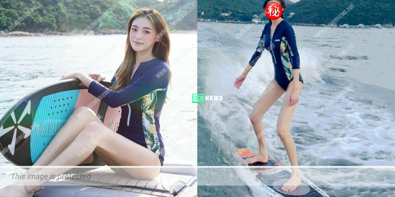 Celina Harto goes for water skiing and shows a pair of long legs