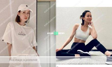 46-year-old Charmaine Sheh shows her tiny waist while exercising