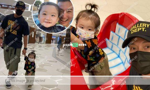 Joel Chan takes his son and cousin out for fresh air