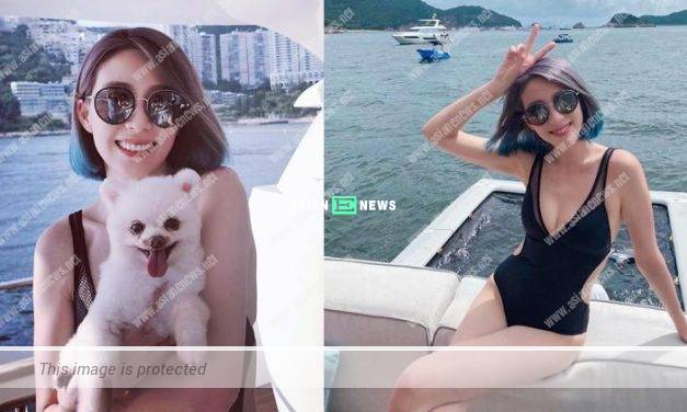 Elaine Yiu wears a sexy swimsuit and shows her new hairstyle