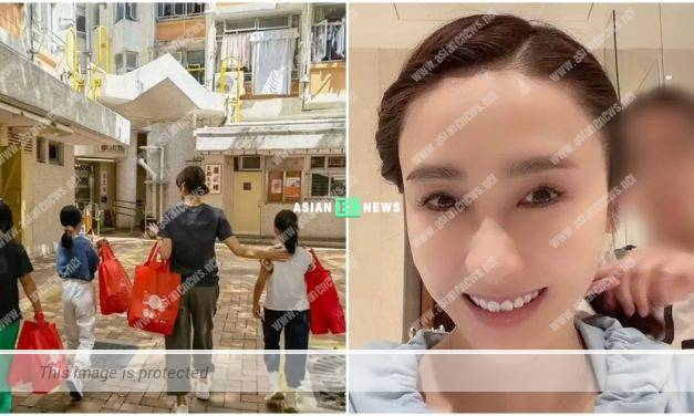 Gigi Lai and her daughters give goody bags to elderly people