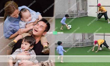 Lousy goalkeeper? Kevin Cheng fails to catch his son Rafael's ball in a football match