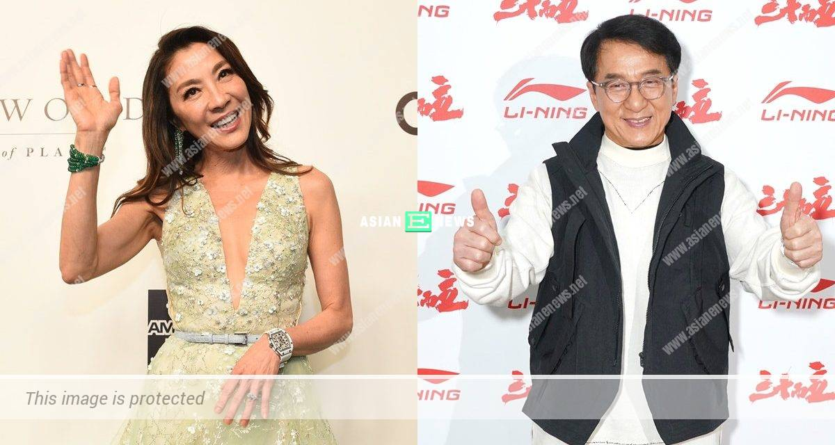 Michelle Yeoh kicks Jackie Chan's bottom when he says women should stay in the kitchen