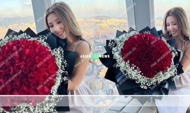 Kayee Tam carries a big bouquet of roses; Sharon Chan gives her blessings