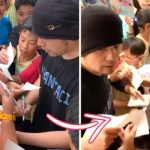 Friendly Jay Chou signs autographs for many students