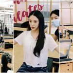 Expecting Grace Chan does simple exercises to improve blood circulation